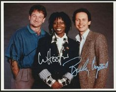 Autographed photo of Robin Williams, Whoopi Goldberg & Billy Crystal (colour edition)