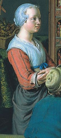 "1718. Detail of ""De Rarekiek"" (The Peepshow) by Willem van Mieris. This girl wears a 1500s - 1600s style white partlet over her outfit. She appears to have a tan vest/kirtle under the partlet. The salmon sleeves striped with blue may be tied on to the kirtle. Did girls stay in the old fashions longer than older women?"