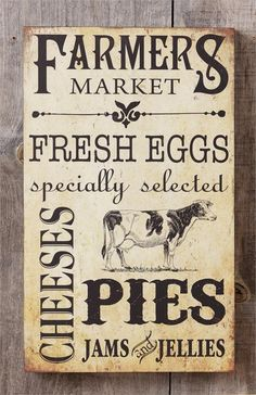 New Farmhouse Chic Country Fresh Eggs Pie Jam FARMERS MARKET COW Plaque Sign #YHD #Shabby More
