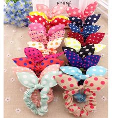 40 Pieces/lot Mix New Fashion Hair Band Polka Dot Hair Rope Accessories Bow Tie Hair Accessory for Women Stripe Rabbit Ears