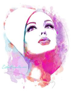 Art And Illustration, Portrait Illustration, Illustration Fashion, Art Illustrations, Fashion Illustrations, Watercolor Fashion, Abstract Watercolor, Pink Watercolor, Watercolor Portraits