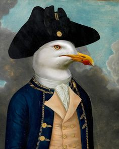 The Coxswain - Anthropomorphic bird Portrait Art, Pet Portraits, Collage Techniques, Ecole Art, Pet Costumes, Animal Heads, Fish Art, Whimsical Art, Pet Clothes