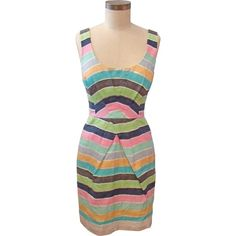 Tracy Reese Pleat Front Shift in Rainbow Stripe ❤ liked on Polyvore #r29summerstyle