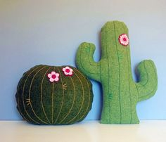 Wool felt cactus cushion botanical plant pillow by annascupoftea