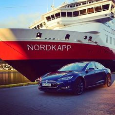 Two ways to travel to the North Cape. #Tesla #Norway #cars #electric #drive #tagforlikes #exoticcar