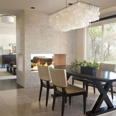 Modern Lighting For Dining Room Modern Dining Room Lights At Modern Dining Room Lighting Ideas Set Dining Room Fireplace, Fireplace Design, Two Sided Fireplace, Open Fireplace, Fireplace Wall, Fireplace Ideas, Fireplace Lighting, Fireplace Stone, Floating Fireplace