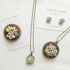 Polymer Clay Succulent pendant
