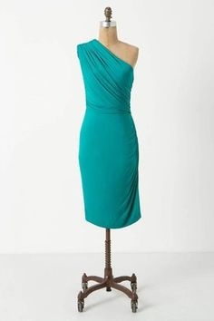 Unilateral Dress from Anthropologie. #tealbridesmaid #weddingstyle