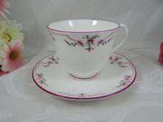"Vintage Royal Worcester English Bone China ""Petite Fleur"" Teacup and Saucer"