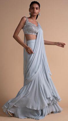 Powder blue chiffon stitched sari with layers and ruffles. Paired with a sleeveless grey satin blouse. Saree Gown, Lehenga Choli, Sari, Ethnic Fashion, Modern Fashion, Indian Fashion, Party Sarees, Plain Saree