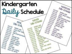 Typical Kindergarten Daily Schedule