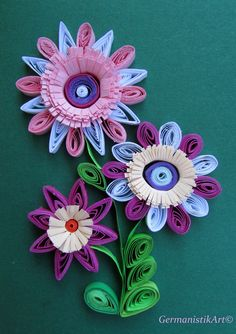 Flowers Quilling Card With Quilled Flowers por GermanistikArt, $7.50