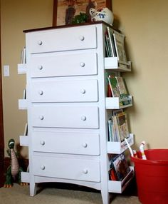 A children's dresser makeover with a storage solution; could be on one side only and larger at the bottom