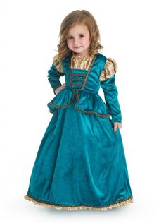 Your child will be the star of the show in this brand new elegant Scottish Princess dress. The bodice is made from lavish dark teal crushed velvet, with intricate gold edging and silk puff sleeves. Th