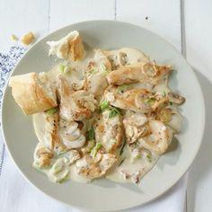 Hähnchen-Pilz-Geschnetzeltes - Huhn nicht zu lange braten, gart nach! - mehr Huhn ist besser