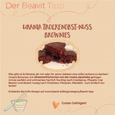 Urania Trockenobst-Nuss Brownies Rezept! Brownies, Meat, Desserts, Blog, Dried Fruit, Pistachios, Berries, Treats, Food Food