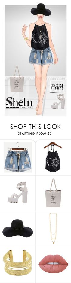 """Shein:Shorts denim"" by nukslucks ❤ liked on Polyvore featuring Eugenia Kim, Lime Crime, denimshorts, contestentry and shein"