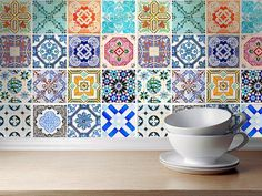 Traditional Spanish Tiles Stickers - Tiles Decals - Tiles for Kitchen Backsplash or Bathroom - PACK OF 16 - SKU:SpanishTiles