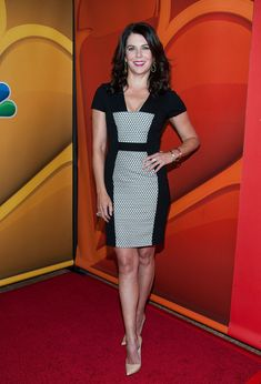 Lauren Graham Cocktail Dress - Lauren's fitted frock featured a cute black-and-white printed panel on the front. Lauren Graham, Gilmore Girls Seasons, Casual Dresses For Women, Dresses For Work, Stylish Older Women, Girlmore Girls, Beautiful Actresses, Hot Actresses, Hollywood Celebrities