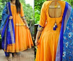 Beautiful boat neck designer blouse with hand embroidery thread and kundan work from Swathi Veldandi. Kalamkari Dresses, Ikkat Dresses, Long Gown Dress, Saree Dress, Indian Gowns Dresses, Indian Outfits, Indian Attire, Girls Dresses, Dress Neck Designs