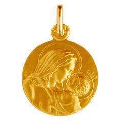 Médaille de bapteme en or, medaille Vierge à l'enfant Notre Dame de la confiance