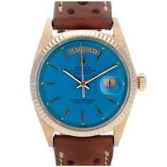 If bold doesn't really work with your style, you can always turn to unexpected pops of color like this.  ROLEX  Blue Stella Day-Date Watch