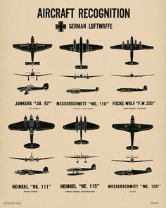WW2 Vintage Style Plane Spotting Poster Chart by TheArtofByrd