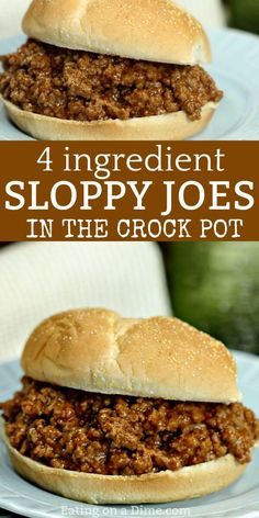 Easy Crock pot Sloppy Joes Recipe – Sloppy Joe Slow Cooker Recipe You have to try this Easy Crock pot Sloppy Joes Recipe! With only 4 ingredients, this Sloppy Joe Slow Cooker Recipe is still packed with flavor. Try some easy crock pot sloppy joes today! Crockpot Dishes, Crock Pot Slow Cooker, Crock Pot Cooking, Cooking Recipes, Crock Pot Beef, Easy Crockpot Recipes, Crock Pots, Cheap Recipes, Slow Cooker Hamburger Recipes
