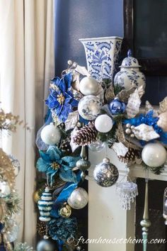 Learn how to make this gorgeous blue and white Christmas fireplace garland. All of the ornaments make the mantle look beautiful. #fromhousetohome #christmas #DIYChristmas #Xmas #fireplace #christmasdecor Christmas Fireplace Garland, Mantle Garland, Diy Christmas Garland, Christmas Mantels, Christmas Decorations, Blue Christmas Decor, Gold Christmas, Kids Christmas, Turquoise Christmas
