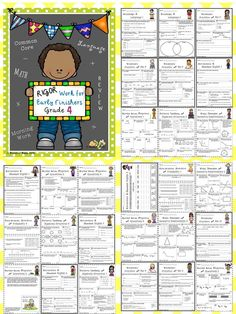 Rigor Work for Early Finishers - Grade Fourth Grade Math, 4th Grade Classroom, 4th Grade Reading, Common Core Ela, Common Core Standards, Language Activities, Math Activities, Math Homework Help, Homework Folders