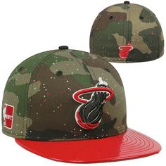 39d62280c1fb2 Miami Heat New Era Camo 59Fifty Design on Top Fitted Hat