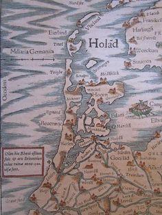 Kaart van Noord-Holland uit 1554. het kruisje aan de kust boven Leiden geeft de plaats aan waar de Brittenburg tot in de 16e eeuw bij eb nog af en toe en kon worden.gezien