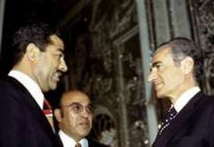 Mohammad Reza Shah visits Saddam Hussein in Baghdad, after signing of the 1975 peace accord.