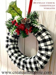 christmas wreaths How to make a trendy Buffalo Check Christmas Wreath. this short, easy tutorial on how to make a buffalo check Christmas wreath Christmas Wreaths To Make, Holiday Wreaths, Christmas Home, Christmas Holidays, Christmas Decorations, Christmas Ornaments, Christmas Poinsettia, Christmas Quotes, Christmas Trees