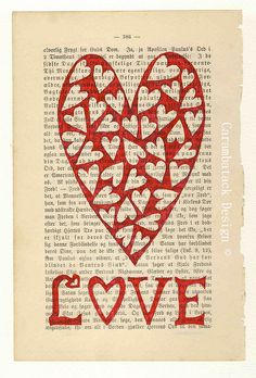 Really neat -- use a recycled book page as a backdrop for printer art. Also, see original page for a Flickr gallery of heart art.