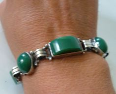 Vintage Art Deco Silver Green Onyx Link Bracelet Sterling Silver Mexico 1940's by MagpieAntiques on Etsy
