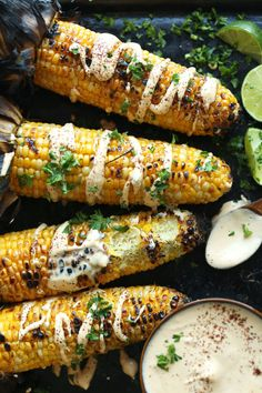 Corn with Sriracha Aioli EASY Mexican Grilled Corn with Sriracha Aioli!EASY Mexican Grilled Corn with Sriracha Aioli! Corn Recipes, Mexican Food Recipes, Vegetarian Recipes, Healthy Recipes, Simple Recipes, Sweet Recipes, Dishes Recipes, Spinach Recipes, Avocado Recipes