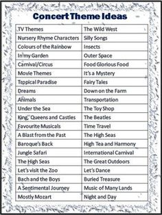 I'm thinking some of these could be party themes, wedding themes, or even classroom themes... Concert Theme Ideas  FREE DOWNLOAD!
