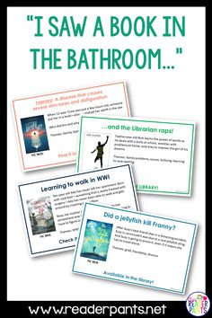 For middle school librarians--Toilet Talker posters are so much fun! Put them on the back of bathroom stall doors, right at eye level. There's not much else to look at in the bathroom; they might as well read a book talk! Library Lessons, Library Books, Library Events, Library Ideas, Math Lessons, Middle School Books, Middle School Libraries, Student Teacher Gifts, Teacher Librarian