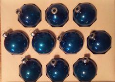 Vintage Shiny Brite Blue Glass Ornaments by VintageRoseandLace