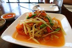 my current FAVORITE food in Thailand... without the dried shrimp of course. YUMMY!!