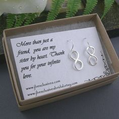 Bridesmaid gift set - wedding jewelry - sterling silver infinity love earrings - bridal gift for mother of bride, bridesmaid, friend, sister. $28.00, via Etsy.