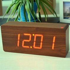 Brown & Red Big numbers Digital Clock Top Quality Alarm Clocks With Temperature & Wooden Alarm Clocks, Digital Alarm Clock, Numbers, Big, Brown, Alarm Clock, Brown Colors