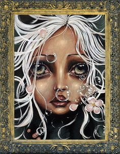 """""""Water Lily"""" by Angelina Wrona - An amazing artist.   """"Angelina's detailed imagery and individual style has been described as exciting, gothic, spooky and even humorous as the exaggerated eyes of the subjects draw you into their unexpected worlds."""""""