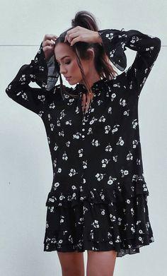 #summer #outfits  Black Floral Dress