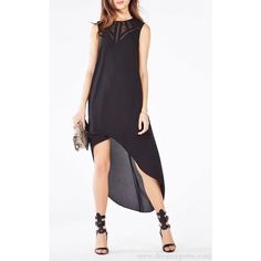 6887fb3b72a8 2016 Mackenna Embroidered High Low BCBG Dress Black ❤ liked on Polyvore  featuring dresses, hi