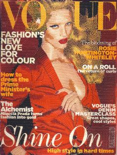 Hand stitched Vogue magazine covers magazines embroidery covers