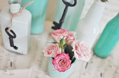 With Spring peeking right around the corner, it's time to think about purging. Don't even get me started on my pantry project… Instead of purging old condiment jars and bottles, repurpose with a bit of paint to transform them into bud vases in sweet shades of trendy emerald green. It's the perfect seasonal display to update a mantle, kitchen table, nightstand, or windowsill. This post was another commissioned piece for THIS magazine. For bottles:jam jar, soda bottles, vinegar bottle, syrup…