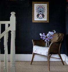 Dark Walls and Styling The Seasons Annie Sloan Graphite paint, picture wall, art prints, seagrass floor Graphite Chalk Paint, Annie Sloan Graphite, Grass Carpet, Hardwood Floors, Flooring, Dark Walls, Patterned Carpet, Persian Carpet, Carpet Runner