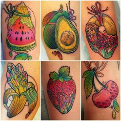 fruit and a donut! some of my favourite food tattoos from the past year  #fruittattoo #foodtattoo